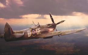 Picture England, Figure, The plane, Flight, Fighter, Art, Spitfire, Illustration, Concept Art, Flies, Spitfire Mk.XVI, Combat …