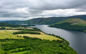 Picture mountains, river, hills, shore, vegetation, view, pond