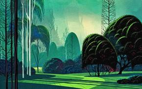 Picture trees, rendering, reproduction, canvas, acrylic paint, Landscape Eivind Earle, Garden