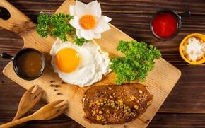 Picture greens, flower, egg, Breakfast, meat, Board, steak, sauces, wooden forks