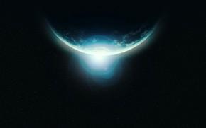 Picture space, light, glare, planet, stars, horizon, orbit, Digital Universe