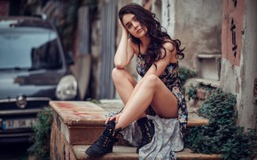 Picture girl, long hair, dress, legs, brown eyes, photo, photographer, model, bokeh, lips, brunette, sitting, boots, …