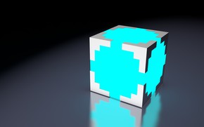 Picture Minimalism, White, Light, Cube, Cub, Turquoise