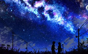 Picture the sky, girl, night, guy, the milky way