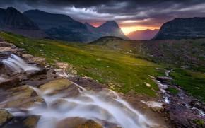 Picture light, mountains, the slopes, tops, waterfall