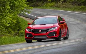 Picture road, greens, red, Honda, hatchback, the five-door, 2019, Civic Type R, 5th gen, FK8