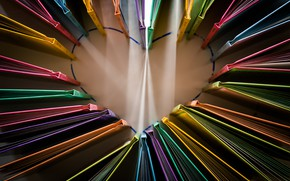 Picture heart, books, color