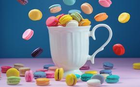 Picture colorful, mug, dessert, pink, cakes, cup, sweet, sweet, coffee, dessert, macaroon, french, macaron, macaroon