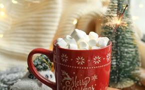 Picture Christmas, mug, New year, tree, garland, holidays, Sparkler, marshmallows