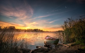 Picture grass, landscape, nature, fog, lake, boat, morning