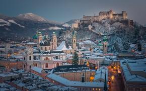 Picture mountains, castle, building, home, Austria, hill, fortress, Austria, Salzburg, Salzburg, Church, Hohensalzburg Castle, Kollegienkirche, Hohensalzburg …