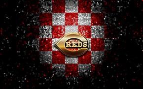 Picture wallpaper, sport, logo, baseball, glitter, checkered, MLB, Cincinnati Reds