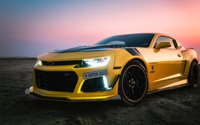 Picture yellow, sports car, Chevrolet Camaro ZL1