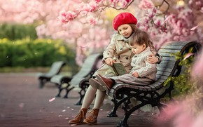 Picture trees, children, Park, boy, Spring, shop, girl, book, flowering, benches