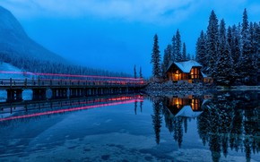 Picture forest, light, mountains, lake, reflection, Canada, house, Canada, British Columbia, British Columbia, Yoho National Park, …