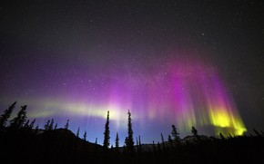 Picture night, Northern lights, pink-yellow