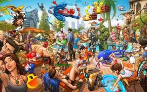 Picture summer, batman, the game, pool, art, portal, hitman, lara croft, splinter cell, bioshock, tomb raider, …