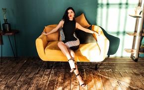 Picture pose, sofa, Girl, dress, Vlad Popov, Maria Semenchuk