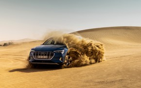 Picture sand, blue, Audi, E-Tron, 2019