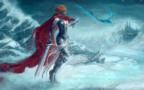 Picture winter, girl, sword, warrior