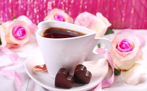 Picture tea, roses, candy, Cup, hearts