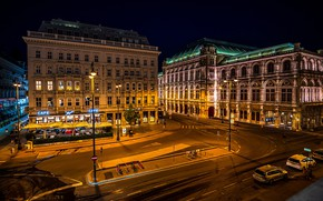 Picture road, night, lights, building, home, Austria, lights, street, Vienna