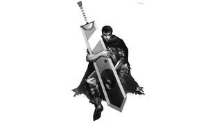 Picture sword, art, male, Berserk, Berserker, guts, by kleineherz
