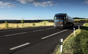 Picture road, blue, Mercedes-Benz, tank, tractor, 4x2, the trailer