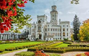 Picture the sun, trees, flowers, design, castle, garden, Czech Republic, the bushes, Hluboka Castle