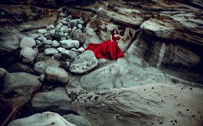 Picture girl, stones, mood, rocks, Asian, red dress