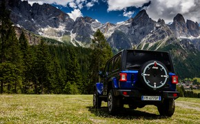 Picture blue, SUV, rear view, 4x4, Jeep, 2019, Wrangler Unlimited 1941 Sahara