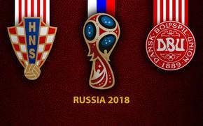 Picture wallpaper, sport, logo, football, FIFA World Cup, Russia 2018, Croatia vs Denmark