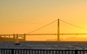 Picture bridge, boat, sail, San Francisco, Golden Gate, USA