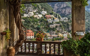 Picture flowers, mountains, home, Italy, balcony, Amalfi