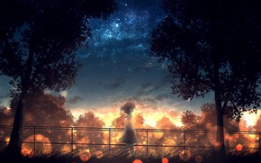 Picture grass, trees, fence, Japan, girl, schoolgirl, walk, bokeh, the evening sky, against the sky, starry …