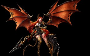 Picture girl, wings, armor, art, warrior