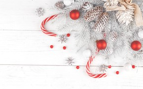 Picture winter, snow, branches, holiday, balls, ate, Christmas, New year, lollipops