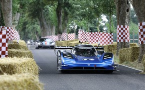 Picture road, trees, blue, Volkswagen, hay, prototype, prototype, 2019, I.D. R