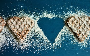 Picture heart, cookies, cakes, flour