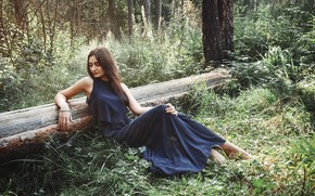 Picture forest, girl, trees, dress, Zlobin Awesome, Valery Zlobin, Elga