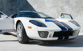 Picture White, Supercar, The Front Headlights, Blue stripes, 2005 Ford GT