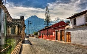 Picture the city, street, HDR, the volcano, Guatemala, Guatemala, Antigua, Antigua