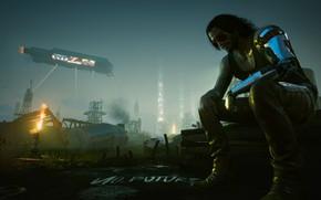Picture street, Night city, Cyborg, Cyberpunk 2077, Silverhand