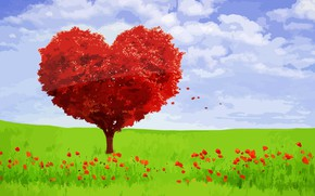 Picture love, landscape, mood, feelings, Valentine, romantic, tree heart