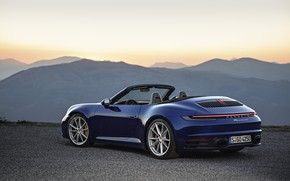 Picture blue, 911, Porsche, convertible, Cabriolet, Carrera 4S, 992, hump, 2019