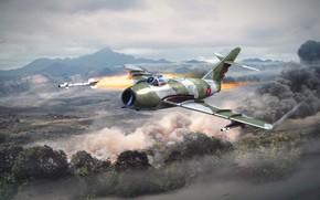 Picture nature, smoke, rocket, the plane, War Thunder, Warplane