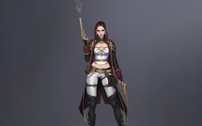 Picture Girl, Fantasy, Gun, Beautiful, Sexy, Art, Style, Weapon, Minimalism, Characters, Pistol, Pistols, Figure, Gunner, Bageumi