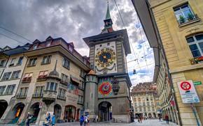 Picture watch, tower, home, Switzerland, Bern