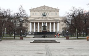 Picture the city, Moscow, The Bolshoi theatre, the beginning of April 2020, deserted area, covid 19 …