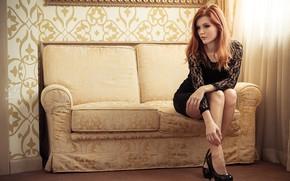 Picture sofa, Girl, red, curtain, Mia Sol